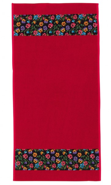 Fatima Petite Chenille Red Bath Towel