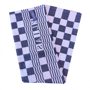 Elias Dark Blue Check Tea Towel