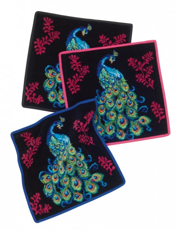 Peacock Chenille Blue Face Towel