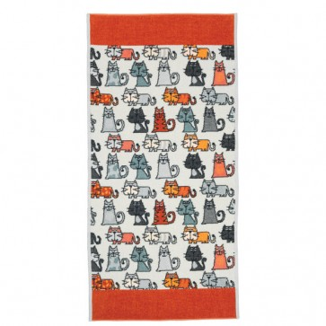 Feiler Cats Chenille Orange Head Towel