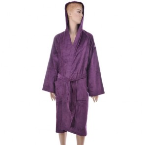 Benetton Purple Solid Bath Robe